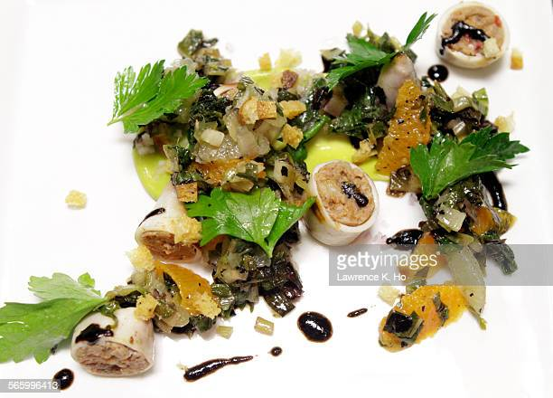 The dish Merguez with squid mandarin and escargot A popup restaurant called the Vagrancy Project has taken up residence at Allston Yacht Club in Echo...