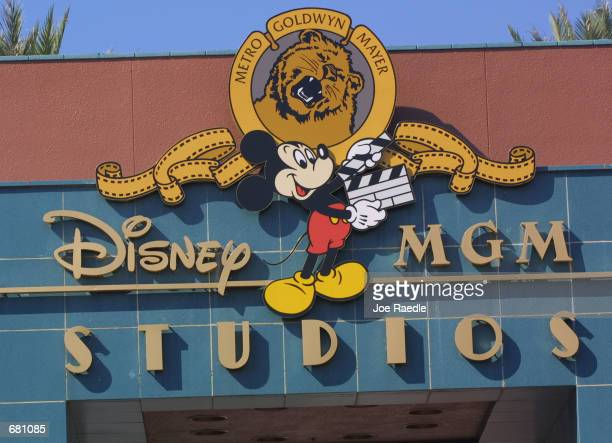 The DisneyMGM Studios logo sits on a building November 11 2001 in Orlando Florida