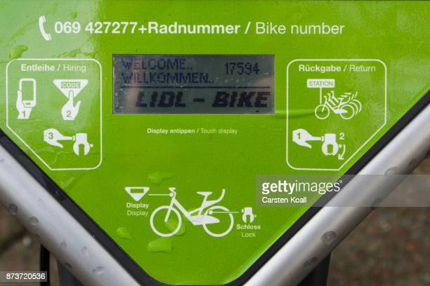 The display of a bicycle of the sharing agency Lidl in cooperation with DB Deutsche Bahn on November 13 2017 in Berlin Germany A number of companies...