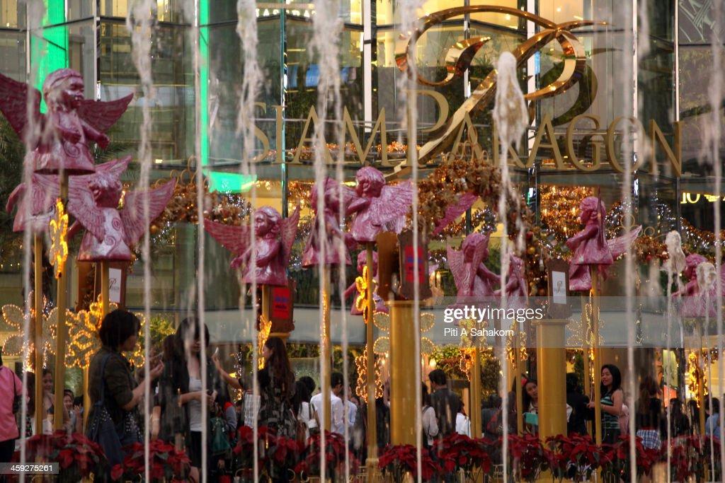 The display of Christmas lights at Siam Paragon shopping mall in Bangkok.