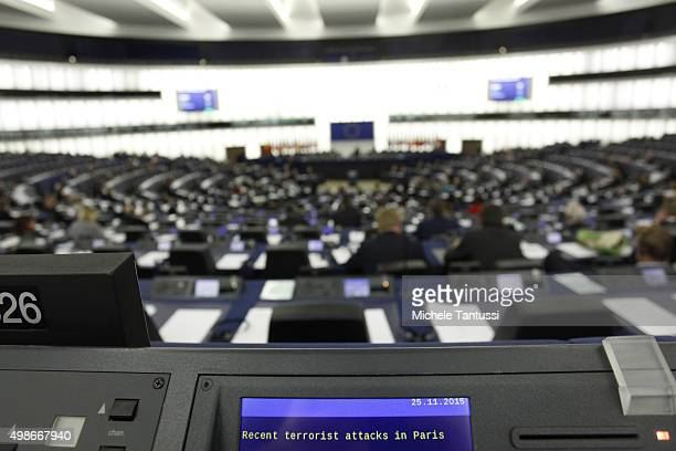 The display of the members seat announce the theme of the debate Recent terrorists attack in the plenary room in the European Parliament during the...