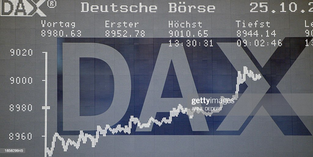 The display showing the German stock market index DAX is seen at the stock exchange in Frankfurt am Main, central German on October 25, 2013. Germany's DAX stock index set a new all-time high when it briefly topped 9,000 points.