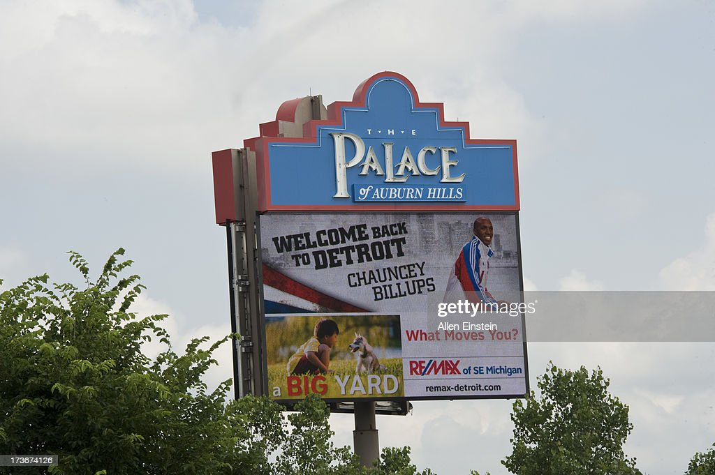 The display shows the new Detroit Piston, Chauncey Billups, who is being introduced at Palace of Auburn Hills on July 16, 2013 at Palace of Auburn Hills in Auburn Hills, Michigan.