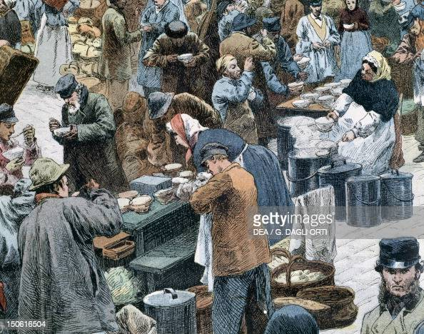 The distribution of onion soup in Les Halles Market in Paris France ...