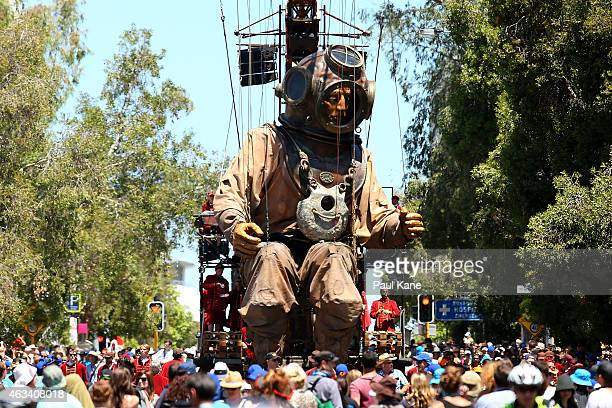 The Diver Giant is transported down Hill Street during the Perth International Arts Festival on February 14 2015 in Perth Australia