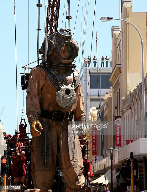 The Diver Giant walks up Hay Street during the Perth International Arts Festival on February 14 2015 in Perth Australia
