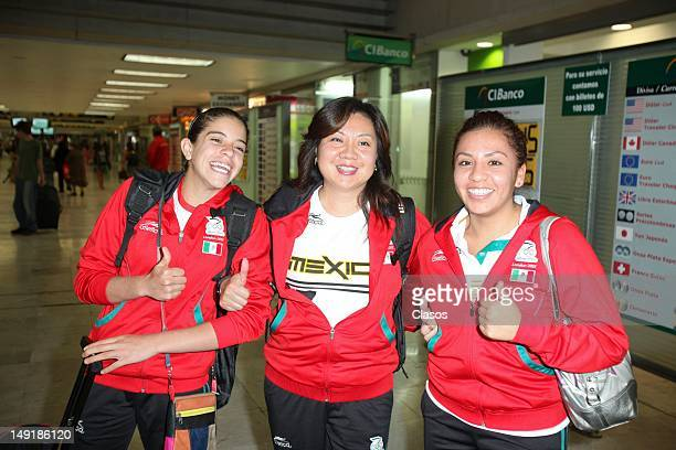 The divers Alejandra Orozco and Fernanda Gonzalez pose for a photo at the International Airport of Mexico City toward the Olympic Games London 2012...