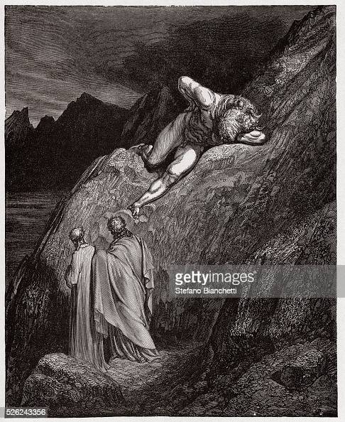 The Divine Comedy Inferno Canto 12 The Minotaur on the shattered cliff by Dante Alighieri Engraving by Gustave Dore 1885