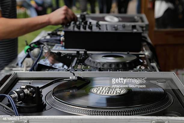 The DJ booth is shown during a May Day celebration on May Day on May 1 2014 in Berlin Germany May Day or International Workers' Day was established...