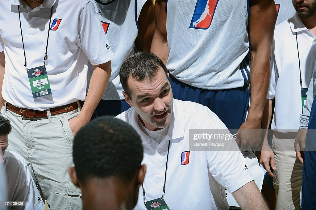 The D-League Select Team players and staff gather around Head Coach Alex Jensen during NBA Summer League game between the Charlotte Bobcats and the D-League Select Team on July 20, 2013 at the Cox Pavilion in Las Vegas, Nevada.