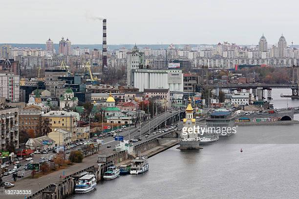 The Dnieper river and the riverside of Kiev pictured on November 10 2011 in Kiev Ukraine Kiev is the capital and the largest city of Ukraine The 2012...
