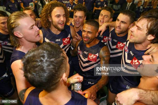The Dockers celebrate winning the round three AFL match between the Fremantle Dockers and the Western Bulldogs at Domain Stadium on April 8 2017 in...