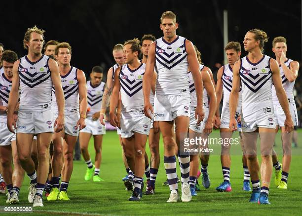 The Dockers players walk from the field after the round two AFL match between the Port Adelaide Power and the Fremantle Dockers at Adelaide Oval on...