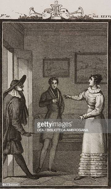 The doctor Florindo and the waitress Rosaura engraving by Antonio Viviani from a drawing by G Steneri from The Woman of Grace Act II Scene 15...