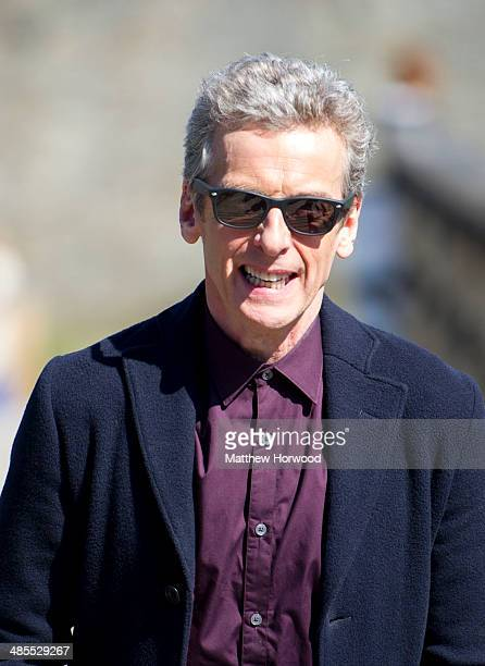 The Doctor Peter Capaldi spotted wearing sunglasses during filming for BBC show 'Doctor Who' at Caerphilly Castle on April 18 2014 in Caerphilly Wales