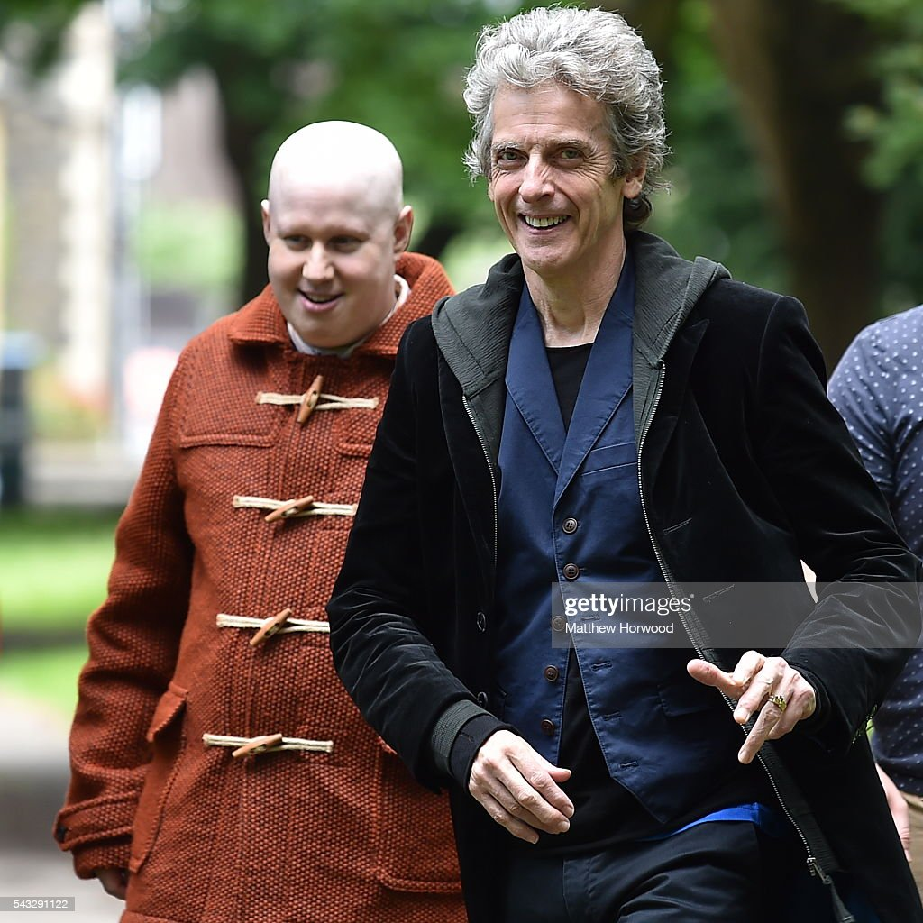 The Doctor Peter Capaldi (R) spotted with Matt Lucas (L) during filming for BBC TV show Doctor Who at Cardiff University's Main Building on Museum Avenue on June 27, 2016 in Cardiff, Wales. in Cardiff, South Wales.