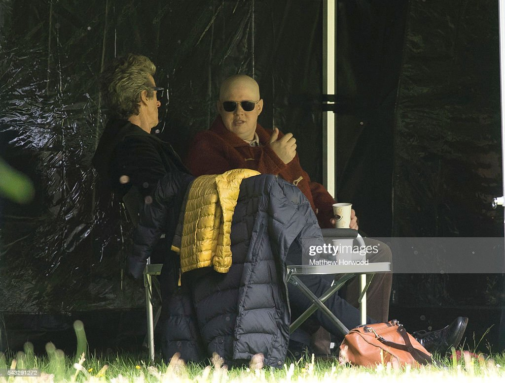 The Doctor Peter Capaldi (L) spotted with Matt Lucas (R) during filming for BBC TV show Doctor Who at Cardiff University's Main Building on Museum Avenue on June 27, 2016 in Cardiff, Wales. in Cardiff, South Wales.