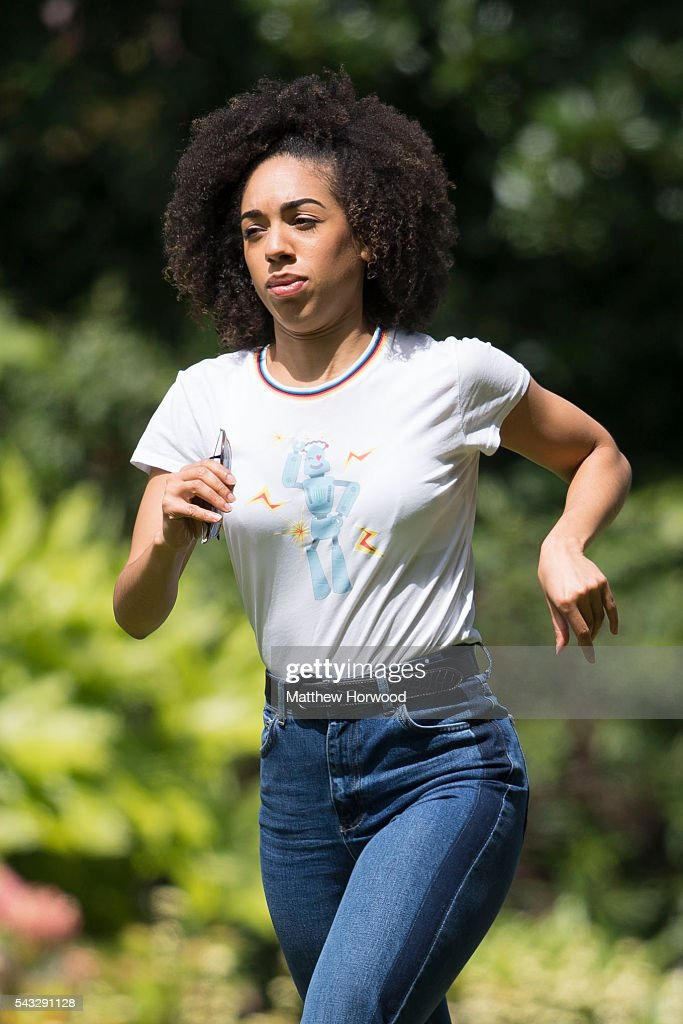 The Doctor's new companion Pearl Mackie, who replaces Jenna Coleman, spotted during filming for Doctor Who at Cardiff University's Main Building on Museum Avenue on June 27, 2016 in Cardiff, Wales. in Cardiff, South Wales.