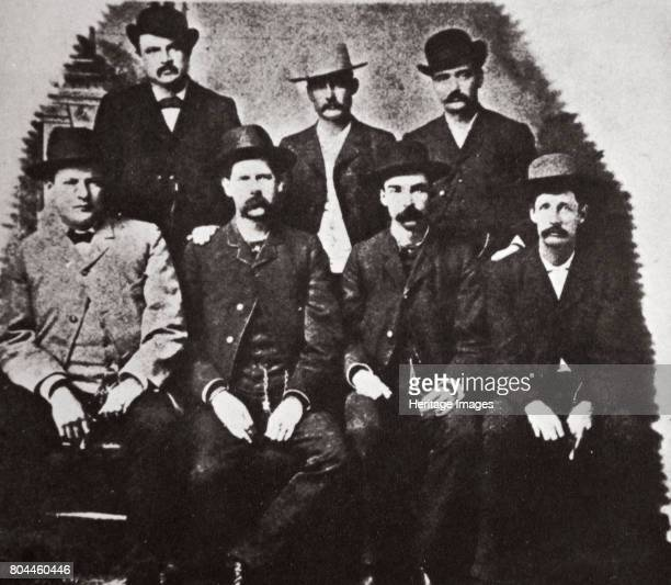 The Dodge City Peace Commission Kansas USA June 1883 Standing WH Harris Luke Short Bat Masterson sitting Charles E Bassett Wyatt Earp Frank McClain...