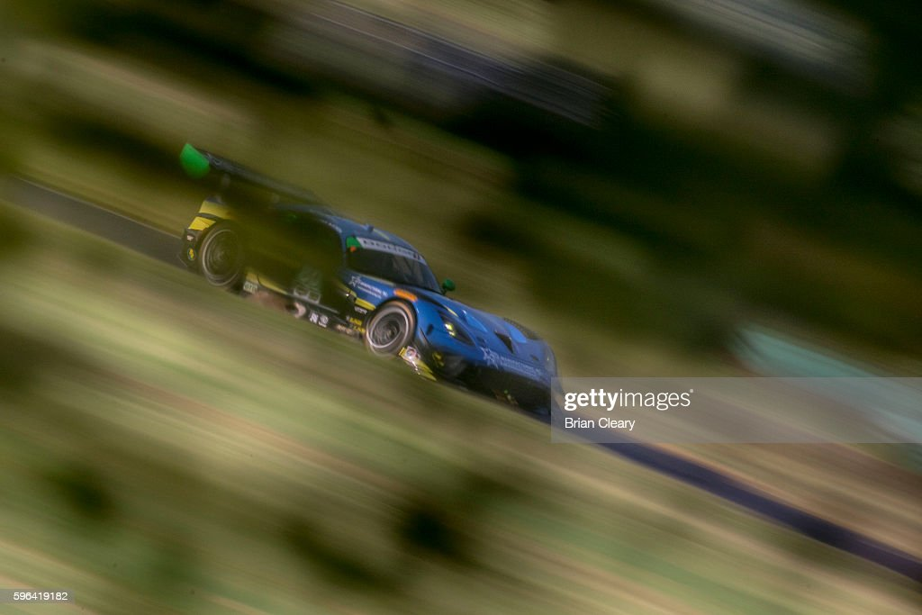 The Dodge Viper of Dan Knox and Mike Skeen races on the track during practice for the IMSA WeatherTech Series race at Virginia International Raceway...