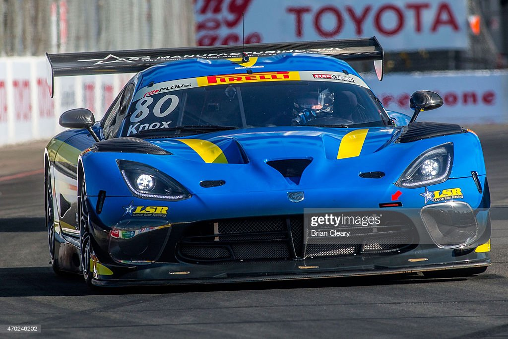 The Dodge ViperGT3R of Dan Knox races through a turn during qualifying for the Pirelli World Challenge race at Long Beach on April 18 2015 in Long...