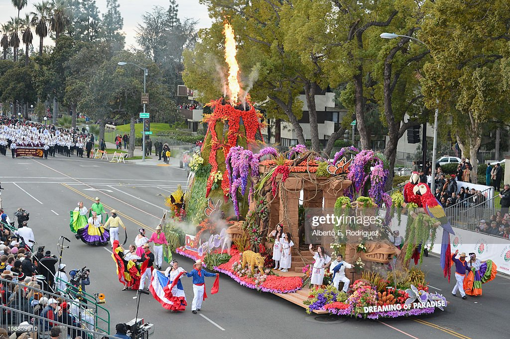 The Dole Company float participates in the 124th Tournamernt of Roses Parade on January 1, 2013 in Pasadena, California.