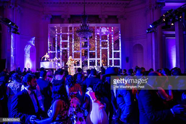 The Dolls DJ Mia Moretti and Electric Violinist Caitlin Moe perform at the Washington National Opera Ball at the Organization of American States on...