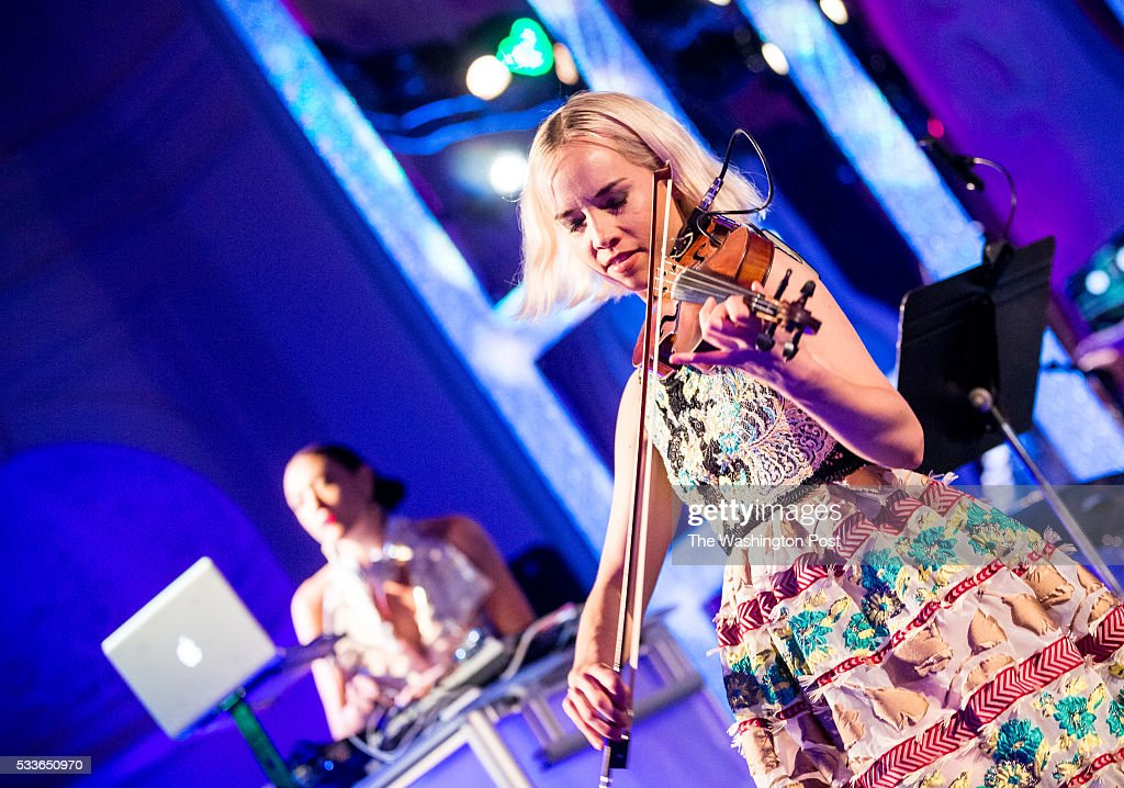 Electric Violinist Caitlin Moe and DJ Mia Moretti perform at the Washington National Opera (WNO) Ball at the Organization of American States on Saturday, May 21, 2016. The annual Ball celebrated the WNO's 60th anniversary season.