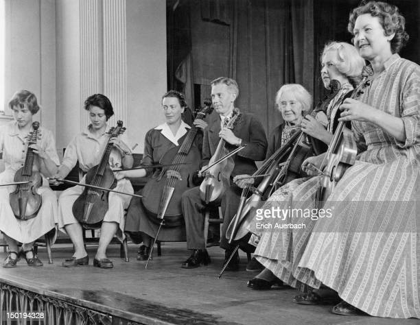 The Dolmetsch Family Consort of Viols on stage 13th July 1957 Left to right Jeanne Dolmetsch Louise Carley Marie Dolmetsch Carl Dolmetsch Mabel...