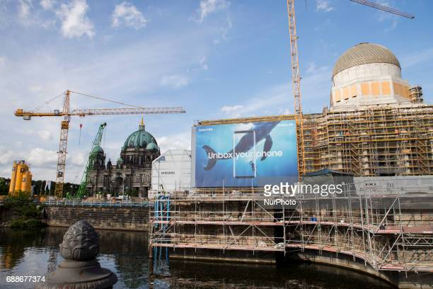The Dome of Berlin and the construction site of the Humboldt Forum are pictured in Berlin Germany on May 25 2017