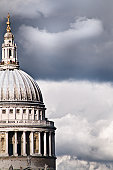 The Dome of St Paul's Cathedral Against Stormy Sky