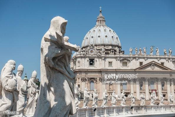 The dome of St Peter is seen during celebration of the mass for the 'Evangelium Vitae' Day at St Peter's Square on June 16 2013 in Vatican City...