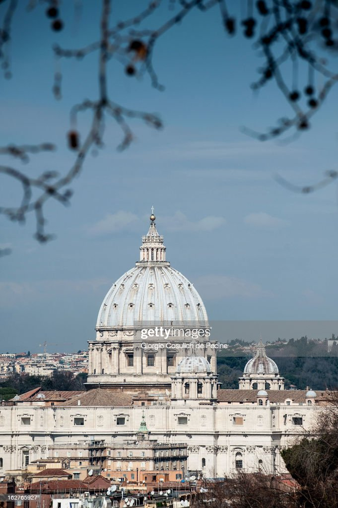 The dome of St. Peter is seen from Gianicolo on February 26, 2013 in Rome, Italy. The Pontiff will hold his last weekly public audience on February 27, 2013 before he retires the following day. Pope Benedict XVI has been the leader of the Catholic Church for eight years and is the first Pope to retire since 1415. He cites ailing health as his reason for retirement and will spend the rest of his life in solitude away from public engagements.