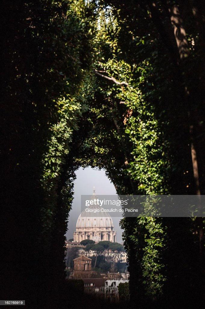 The dome of St. Peter is seen from the Aventino on February 26, 2013 in Rome, Italy. The Pontiff will hold his last weekly public audience on February 27, 2013 before he retires the following day. Pope Benedict XVI has been the leader of the Catholic Church for eight years and is the first Pope to retire since 1415. He cites ailing health as his reason for retirement and will spend the rest of his life in solitude away from public engagements.