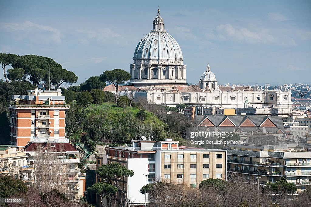 The dome of St. Peter is seen from the Gianicolo on February 26, 2013 in Rome, Italy. The Pontiff will hold his last weekly public audience on February 27, 2013 before he retires the following day. Pope Benedict XVI has been the leader of the Catholic Church for eight years and is the first Pope to retire since 1415. He cites ailing health as his reason for retirement and will spend the rest of his life in solitude away from public engagements.