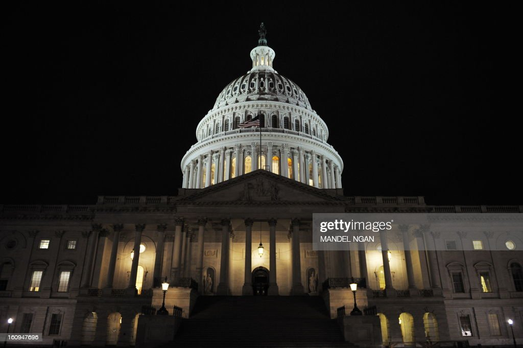 The dome of the Capitol is lit up October 1 2008 as the Senate was set to vote on a 700billiondollar bailout package in Washington DC The US Senate...
