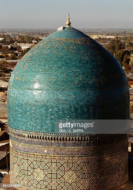 The dome of the Tilla Kari mosque and madrasa 17th century Samarkand Uzbekistan