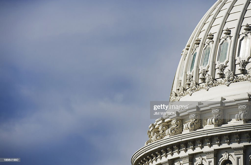 The dome of the US Capitol in Washington, DC, seen October 23, 2013. For the first time since 1959-60, the Capitol dome will be subjected to complete renovations to repair nearly 1,300 cracks and other problems on the cast-iron structure. AFP PHOTO / Jim WATSON