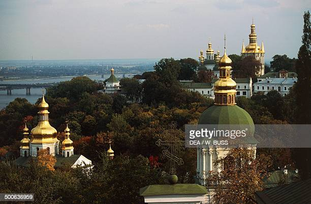 The domes of Kiev Pechersk Lavra monastery or Kiev monastery of the caves Kiev Ukraine 16th century