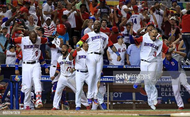 The Dominican Republic celebrates after Nelson Cruz hit a three run home run during the eighth inning of a Pool C game of the 2017 World Baseball...