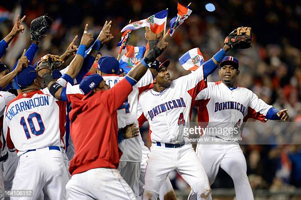The Dominican Republic celerbates after defeating Puerto Rico to win the Championship Round of the 2013 World Baseball Classic by a score of 30 at...