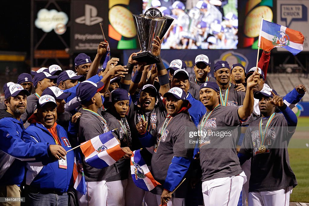 The Dominican Republic celerbates after defeating Puerto Rico to win the Championship Round of the 2013 World Baseball Classic by a score of 3-0 at AT&T Park on March 19, 2013 in San Francisco, California.