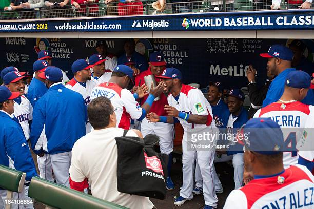 The Dominican Republic team dances in the dugout before the 2013 World Baseball Classic Championship Game against Team Puerto Rico on Tuesday March...