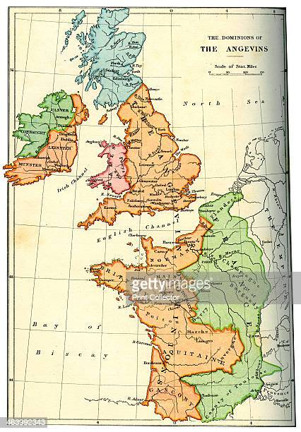 The dominions of the Angevins 1892 The territiories ruled by Henry II of England and his successors Richard I and John An illustration from A Short...