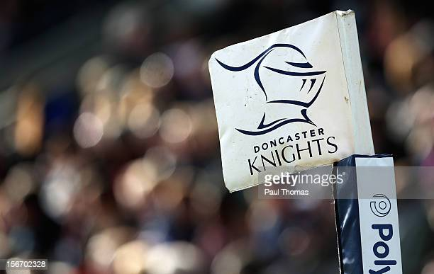 The Doncaster Knights rugby team logo is seen on a corner flag during the RFU Championship XV and New Zealand Maori All Blacks rugby match at Castle...