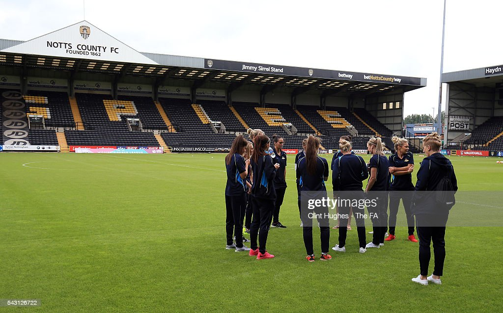 The Doncaster Rovers Belles team arrive at the ground and inspect the pitch during the FA WSL 1 match between Notts County Ladies FC and Doncaster Rovers Belles at the Meadow Lane Stadium on June 26, 2016 in Nottingham, England