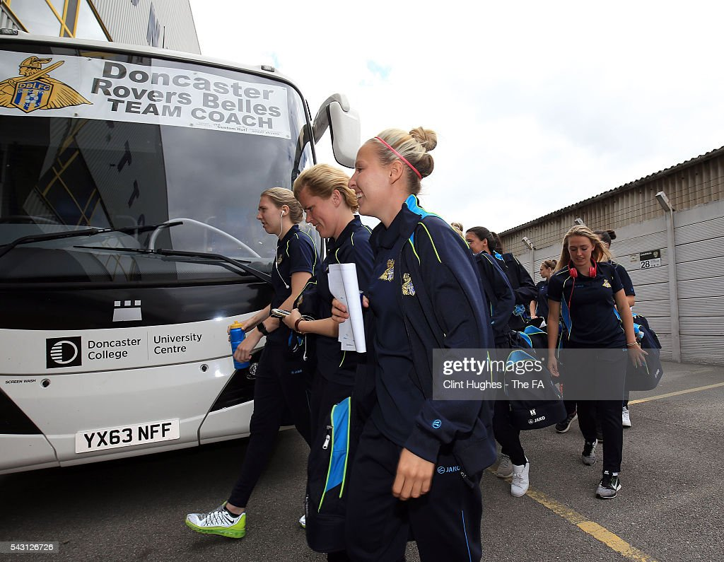 The Doncaster Rovers Belles team arrive at the ground during the FA WSL 1 match between Notts County Ladies FC and Doncaster Rovers Belles at the Meadow Lane Stadium on June 26, 2016 in Nottingham, England