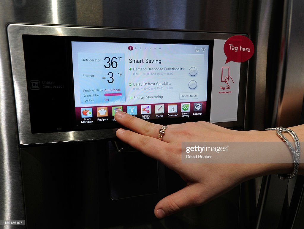 The door display of LG's smart refrigerator with Smart ThinQ technology is seen at the 2013 International CES at the Las Vegas Convention Center on January 8, 2013 in Las Vegas, Nevada. The home appliance is able to communicate with the user's smartphone. CES, the world's largest annual consumer technology trade show, runs through January 11 and is expected to feature 3,100 exhibitors showing off their latest products and services to about 150,000 attendees.