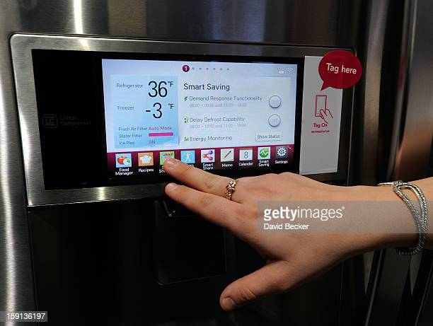 The door display of LG's smart refrigerator with Smart ThinQ technology is seen at the 2013 International CES at the Las Vegas Convention Center on...