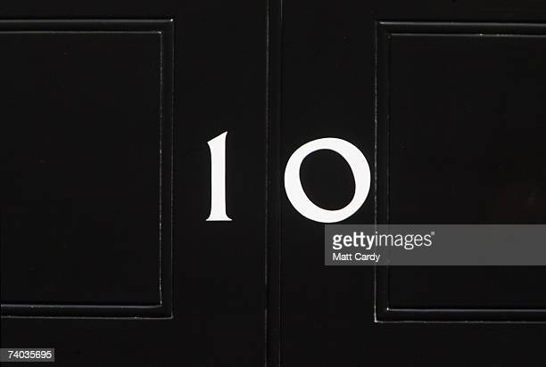 The door of Number 10 Downing Street the historic home and office to the British Prime Minister on the eve of the 10th anniversary of Tony Blair's...